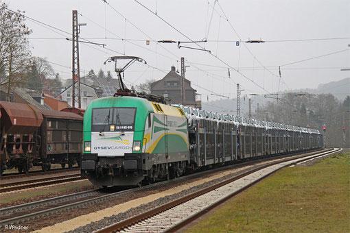 ES 64 U2-070 ( i.E. für GySEV Sopron/H) mit DGS 95691 Passau Grenze - Saarbrücken Rbf Nord (Sdl.), Dudweiler 17.02.2015