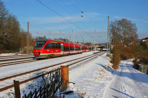 """TALENT Doppeltraktion 643 010 """"Pirmasens"""" + 643 029 """"Kreimbach-Kaulbach"""" als RE 3334 Mainz Hbf - Saarbrücken Hbf mit + 20 min durch Dudweiler - 24.01.2013"""