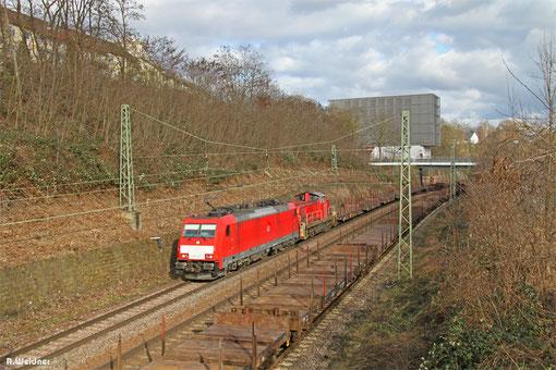 186 337 und 294 613 mit GM 60554 Saarbrücken - Völklingen (Leerlauf Stahlverkehr), Saarbrücken 04.03.2015