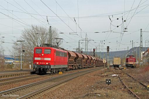 151 032 mit GB 49986 (Zeltweg/A) Salzburg Hbf - Forbach (Luzenac-Garanou/F) (Sdl.leere Wagen, NACCO Wagen aus Talkverkehr), Landstuhl 07.03.2015