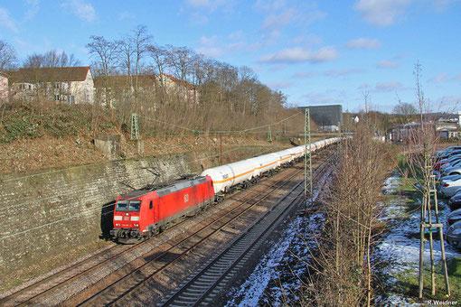 185 007 mit GC 49247 (Creutzwald/F) Saarbrücken Rbf Nord - Hüls AG, Saarbrücken 04.02.2015