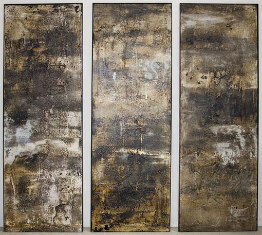 Triptychon, 1998, je 206 x 72 cm, auf Holz, Stahlrahmen
