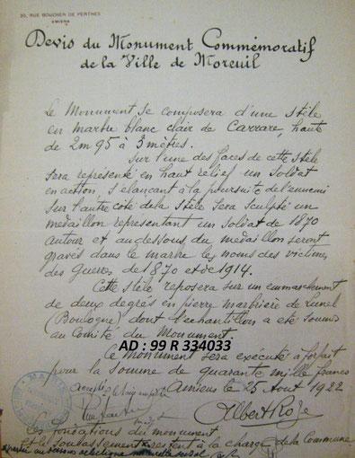 Moreuil - Devis du monument signé Albert Roze