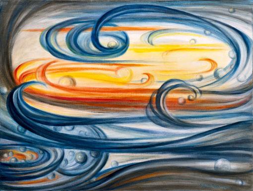 IM ZEITGESCHEHEN 1994, Öl auf Leinwand, 100 x 75 cm