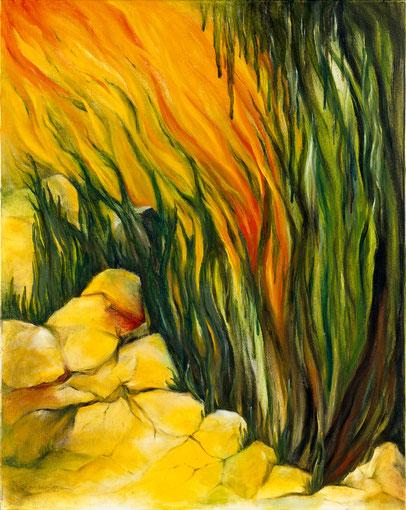 STERBENDER REGENWALD 1990, Öl auf Leinwand, 80 x 80 cm