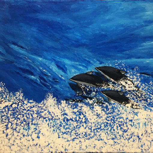 """""""Playtime in Johnstone Strait""""  18x24 unframed acrylic on high profile canvas  $225"""