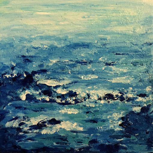 """Coastal Waters""  8x8 framed acrylic on canvas $125"