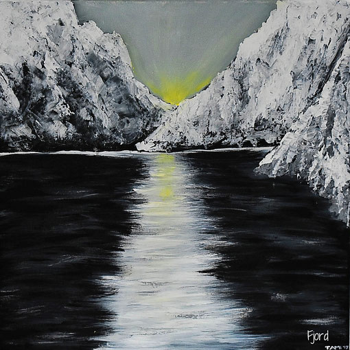 Fjord (Acryl/Struktur, 50x50)