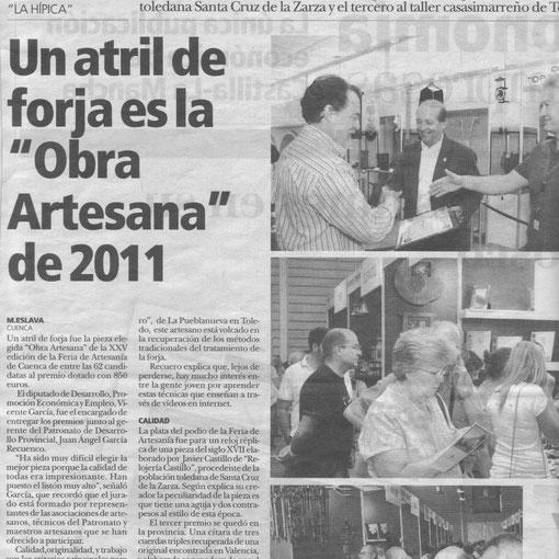 Ramón Recuero Un atril de forja obra artesana 2011 nota de prensa