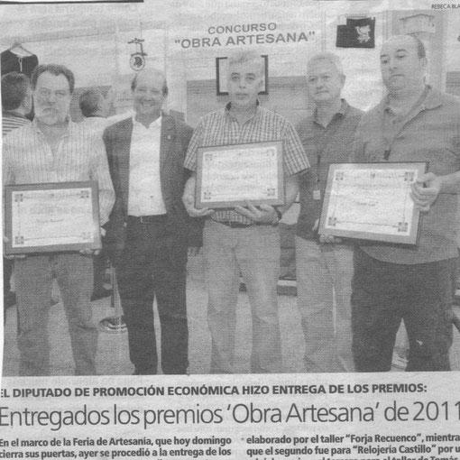 """Ramón Recuero Premio """"Obra Artesana 2011"""" nota de prensa"""