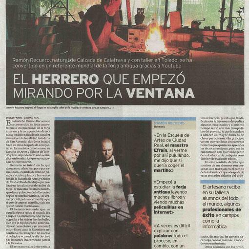 Ramón Recuero el herrero que empezó mirando por la ventana (Nota de prensa)