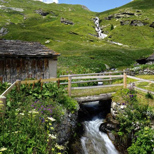 «Geballte Wasserkraft», Fluss Ova dal Mulin, Dorf Buaira, Engadin, CH