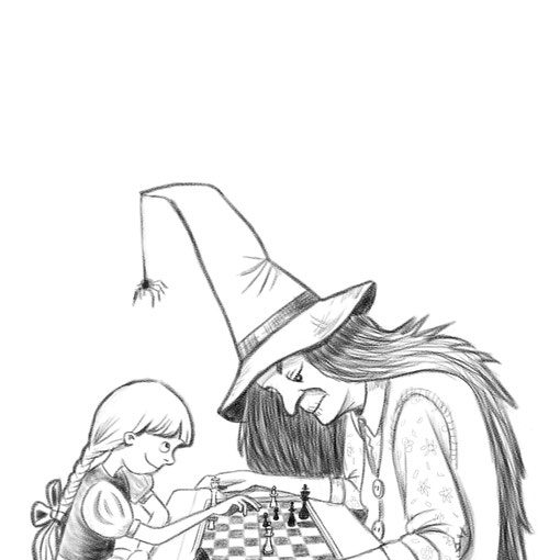 """Gretel spielt ein Spiel...was steht wohl auf dem Spiel? Illustration zu der artchallenge #wochederkreativität """"Märchen mal anders"""""""