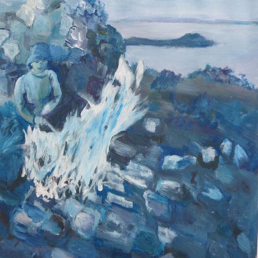 peindre avec seulement 3 couleurs primaires un paysage en bleu