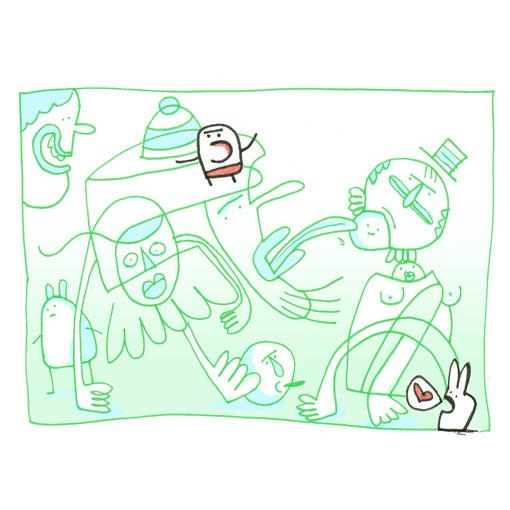 Illustration Liebe mit Hase zeigt Fantasie Figuren im Gewimmel