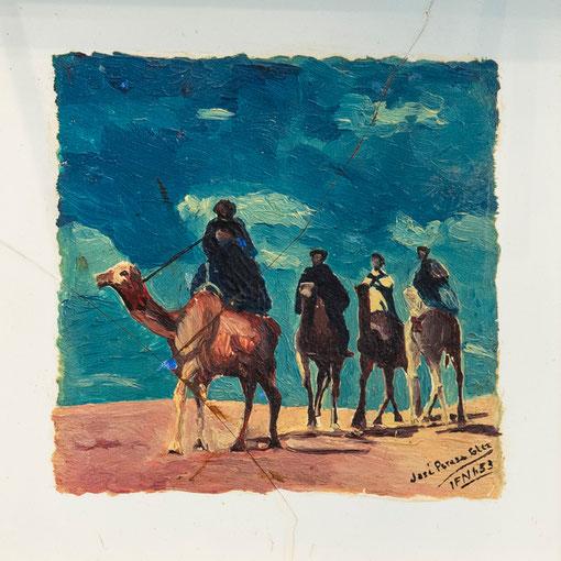Grupo árabe, 1953.  Óleo sobre azulejo, 10 x 10 cm. Col. Eduardo Rodríguez Naya