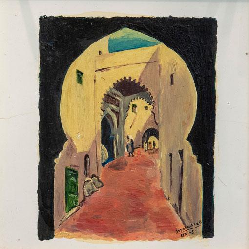 Callejuela típica de Ifni.  Óleo sobre azulejo, 9,5 x 11,5 cm. Col. Eduardo Rodríguez  Naya