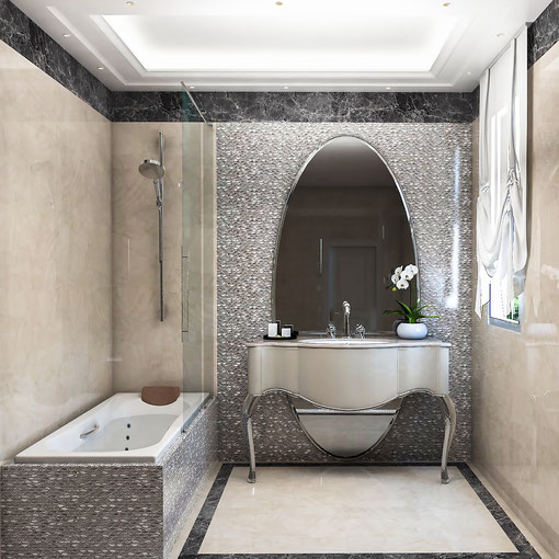 Ambientes 3D de cuarto de baño.