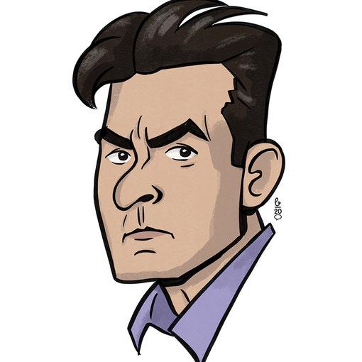 Karikatur Cartoon Stil – Charlie Sheen