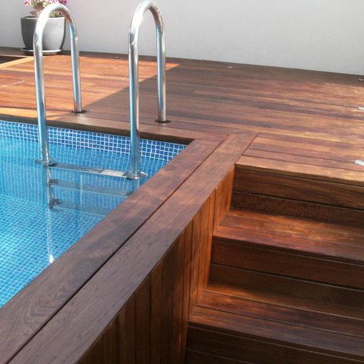 Terraza y piscina tarima Ipe