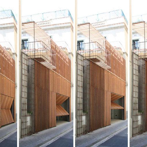 Forrado fachada en Iroko