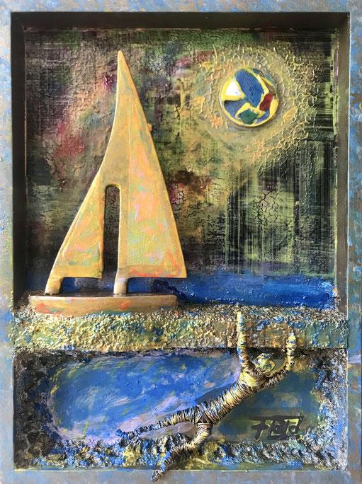 Beeinflusst von Tauchgängen der besonderen Art, fertigte ich dieses Stück aus Holz, Draht, Steingranulat, Aluminium  und vielerlei Farben.