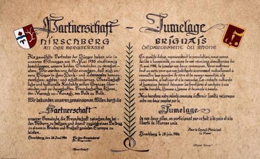 Partnerschaftsurkunde: Hirschberg - Brignais
