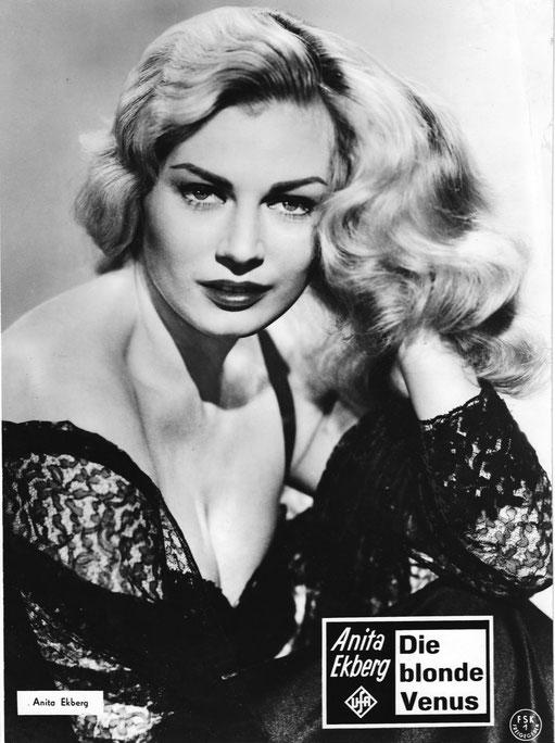 """Beispiel eines schwarzweissen Grossfotos. Format ca. 30 x 40 cm """"Die blonde Venus"""" USA 1957"""