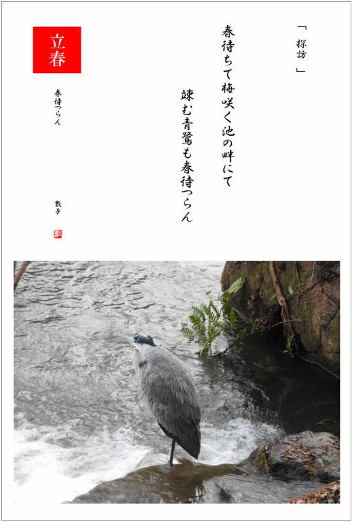 2019/02/06制作 親水公園池の青鷺2019/02/02撮影
