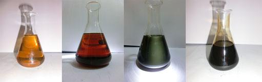Rohöle aus dem Kaukasus, Mittleren Osten, der Arabischen Halbinsel und Frankreich; Quelle: Glasbruch2007 [CC BY-SA 3.0 (https://creativecommons.org/licenses/by-sa/3.0)]