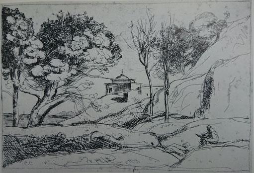 Corot, Souvenir de Toscane, 1845, 1er état.