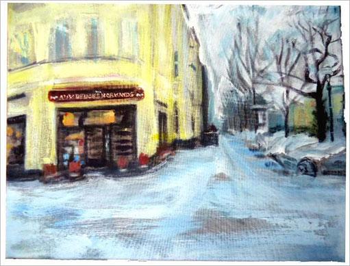 Franzose im Schnee . 50 x 40 cm  .  Acryl auf Leinwand .