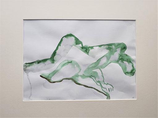 abstrAkt   Aquarell von Maya Franzen  Vollholzrahmen weiß 40x50 cm   www.kunst-werk-niederbayern.com