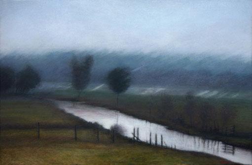 mijn vlakke land, polder - acrylique sur bois - 40x61 cm - 2014 - M.Pavlïn
