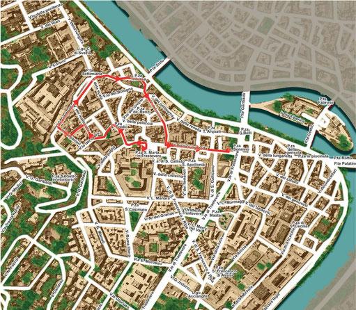 Mappa del percorso della processione del Lunedì