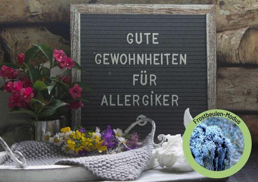 Frau vor Blumen im Hintergrund putzt sich die Nase als Allergiker 5 Elemente Ernährung Anja Orywol