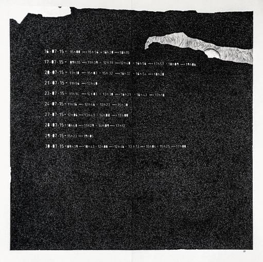 """"""" TEMPOREL -X """" 38 h 41 mn . Série 2. Pointe fine et collage sur papier. Format : 70 x 70 cm."""