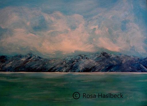 acrylbild, acryl, landschaft, Meer , berge, wasser himmel wolken blau, weiss, grün, malen, kunst, bild, malerei, dekoration, wandbild