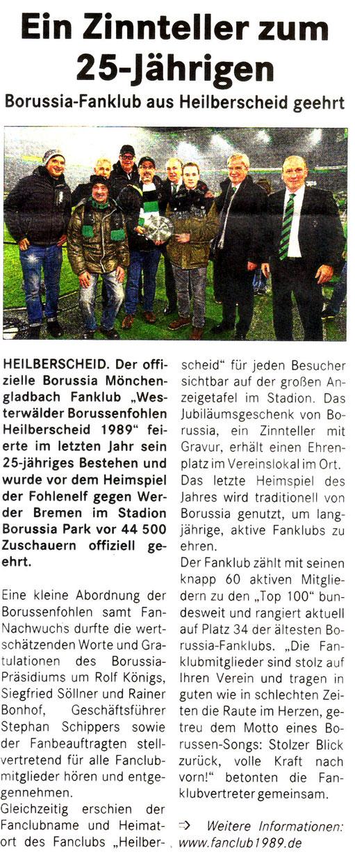 Presseartikel im Lokal-Anzeiger, Titelseite der Ausgabe Westerwald-Post vom Mittwoch, 07.01.2015