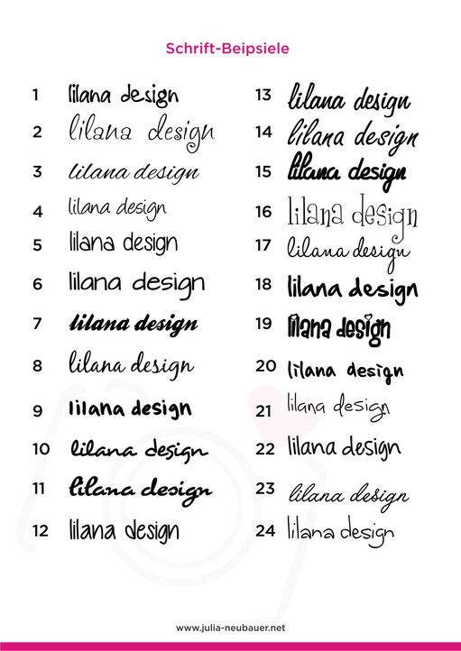 Schriftvorschläge Logodesign