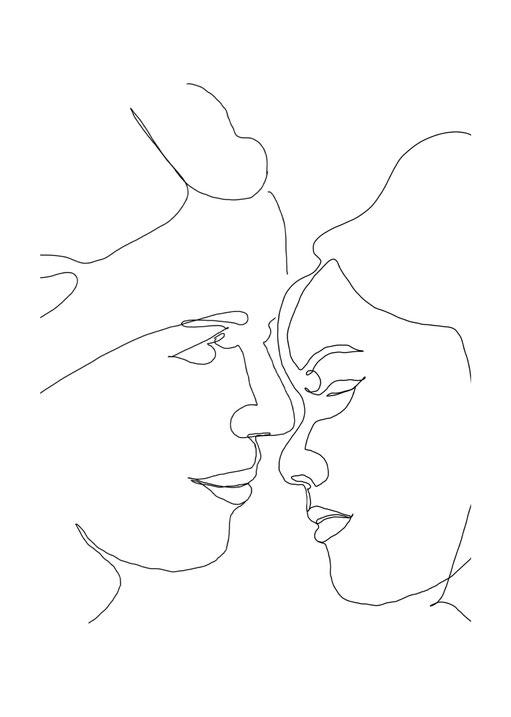 Individuelles One Line Poster Freundinnen