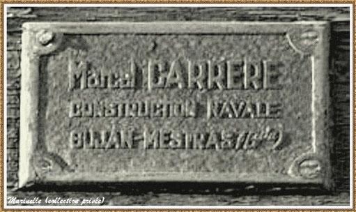 Gujan-Mestras autrefois : ancienne plaque de bateau du Chantier Naval Marcel Carrère, Bassin d'Arcachon (photo, collection privée)
