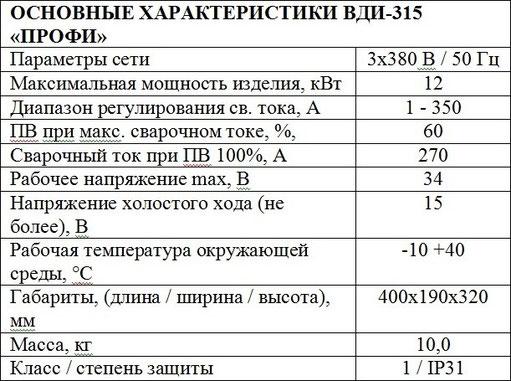 Характеристики Днепровелдинг ВДИ 350