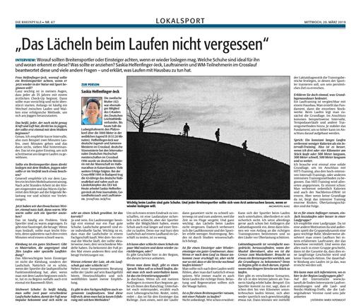 """Interview in der Tageszeitung """"DIE RHEINPFALZ"""", Ludwigshafener Rundschau, 20.03.2019, zum richtigen Einstieg ins Lauftraining"""