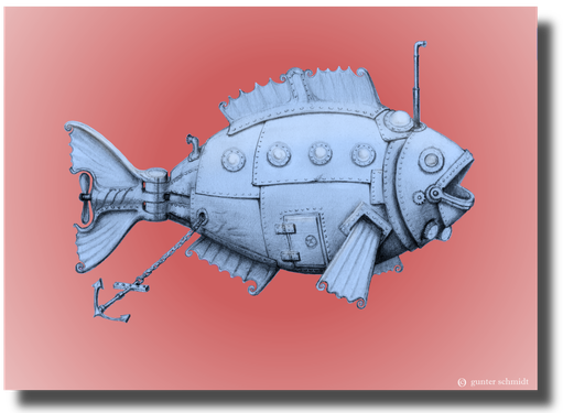Steampunk Unterseeboot in Form eines Fisches. Steampunk U-Boot. Steampunk Fisch.Steampunk.