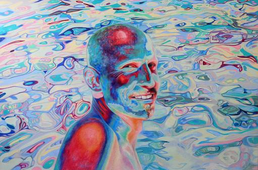 Mann am Meer, 2021. (Farbstift auf HDF)
