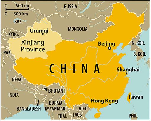 Xinjiang est la province chinoise située à l'extrême nord-ouest du pays. 10 millions de Ouïghours, des musulmans sunnites turcophones, y représentent 45 % de la population. Le Xinjiang est la province la plus militarisée du pays.