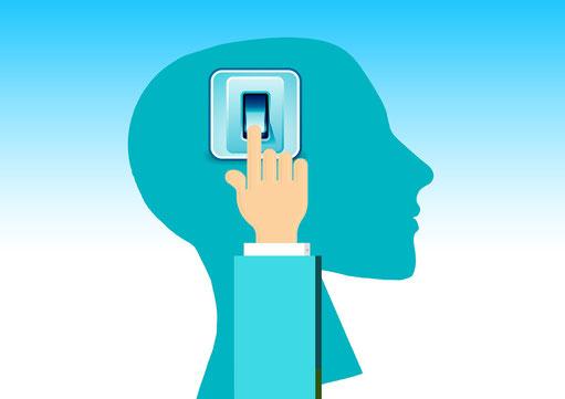 Grafik mit einem Lichtschalter am Kopf