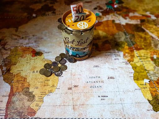 Kasse für Weltreise