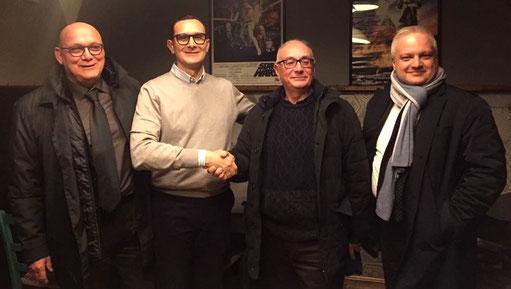 Giuseppe Mele e Mimmo Rotili tra il Presidente Marcon e il Vice Mignola  (FIBS)